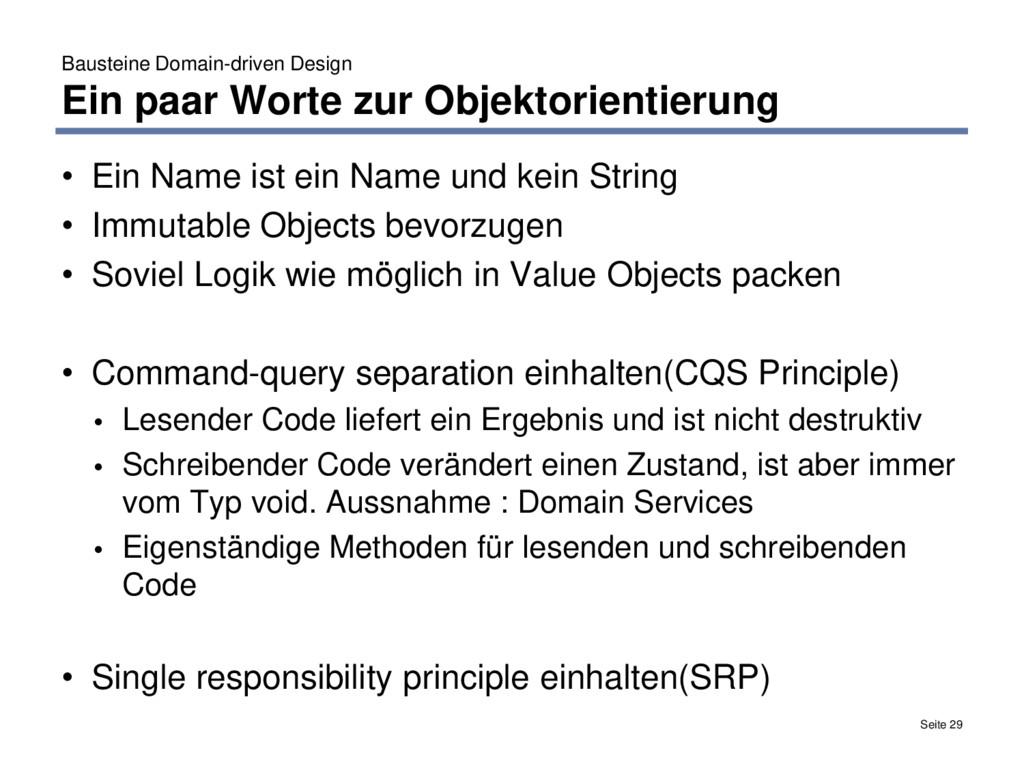 Bausteine Domain-driven Design Ein paar Worte z...