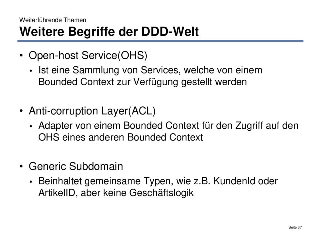 Weiterführende Themen Weitere Begriffe der DDD-...