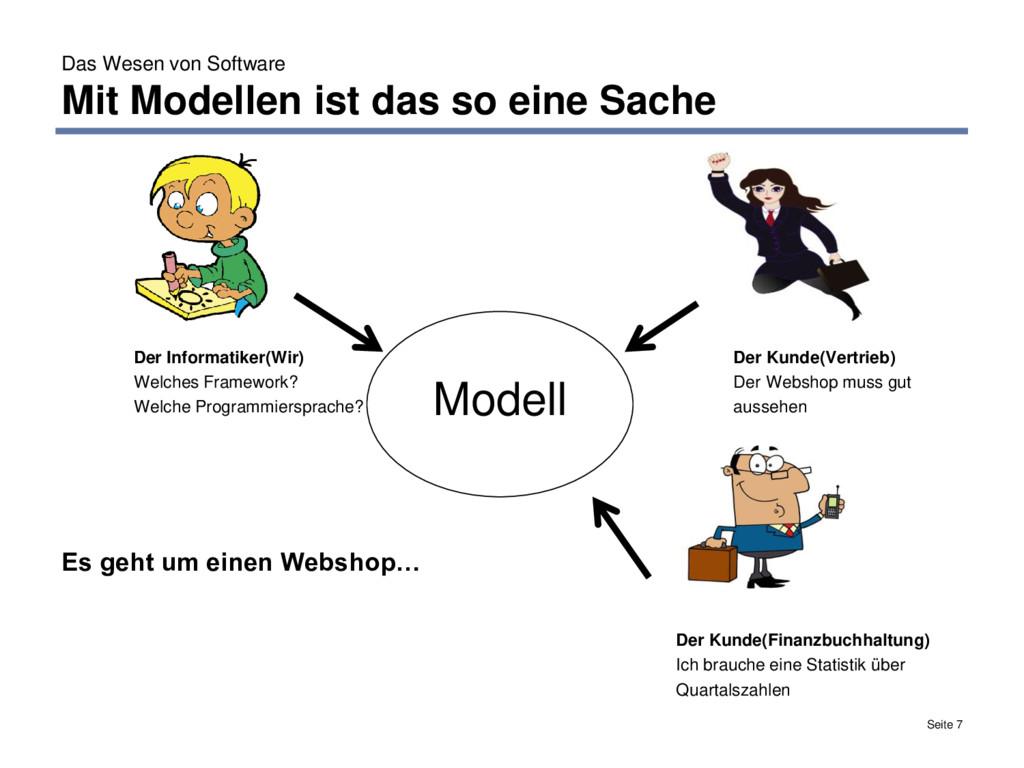 Das Wesen von Software Mit Modellen ist das so ...