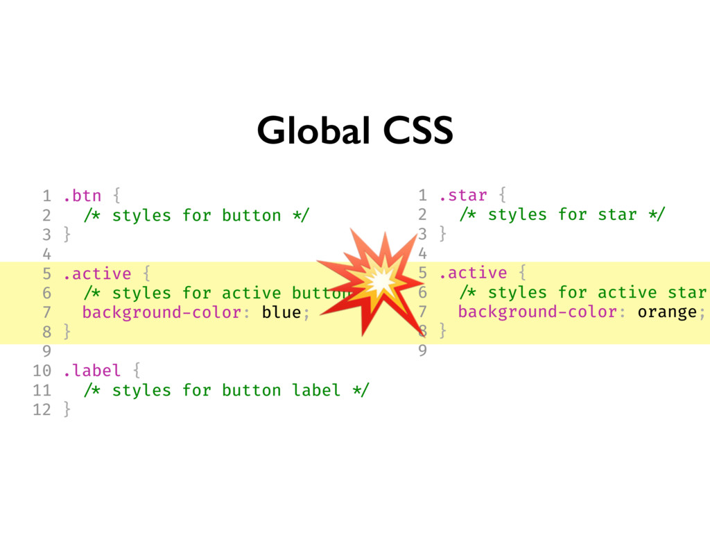 Global CSS 1 .btn { 2 /* styles for button */ 3...
