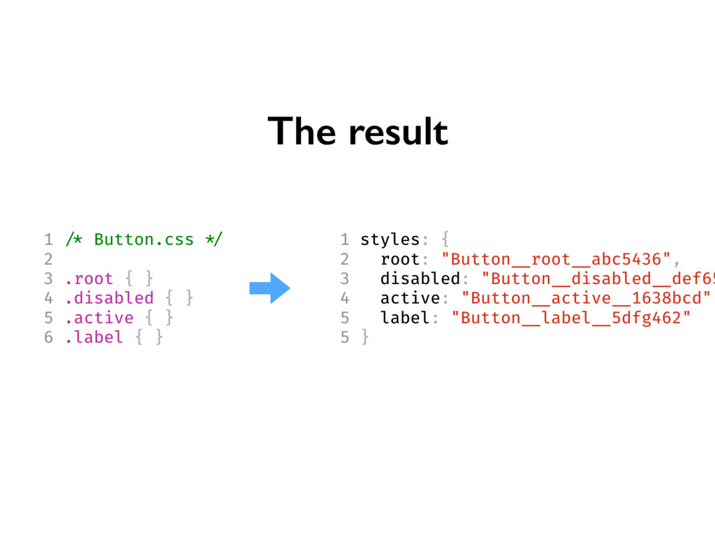 """The result 1 styles: { 2 root: """"Button __root _..."""