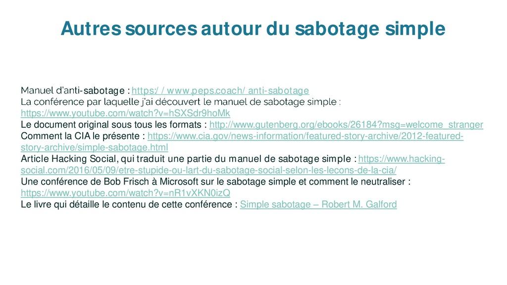Autres sources autour du sabotage simple -sabot...