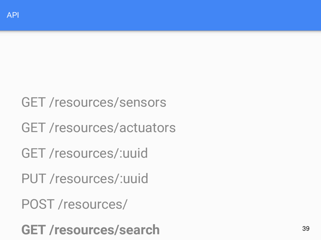 API GET /resources/sensors GET /resources/actua...