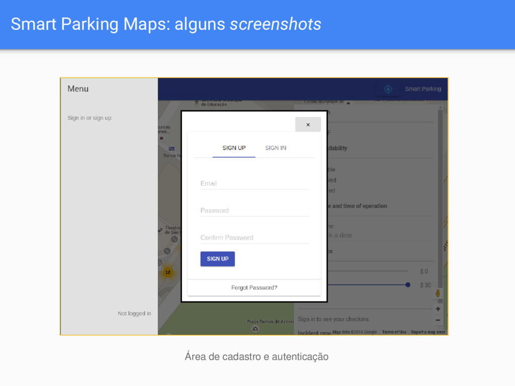 Smart Parking Maps: alguns screenshots Área de ...