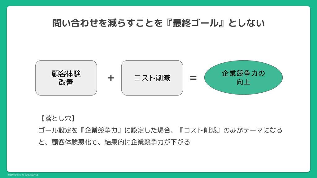 KARAKURI Inc. All rights reserved. 顧客体験 改善 コスト削...
