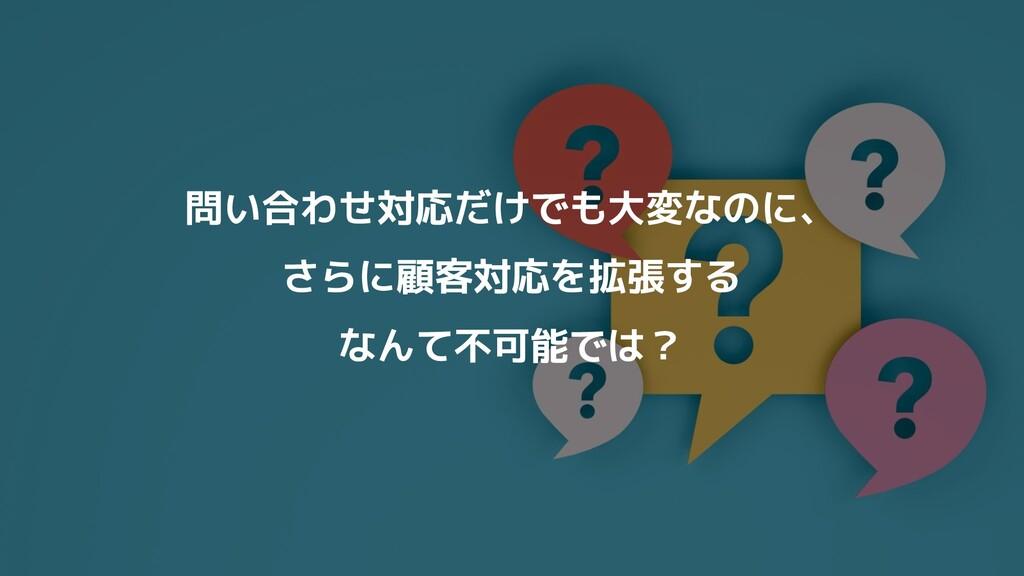 問い合わせ対応だけでも大変なのに、 さらに顧客対応を拡張する なんて不可能では?