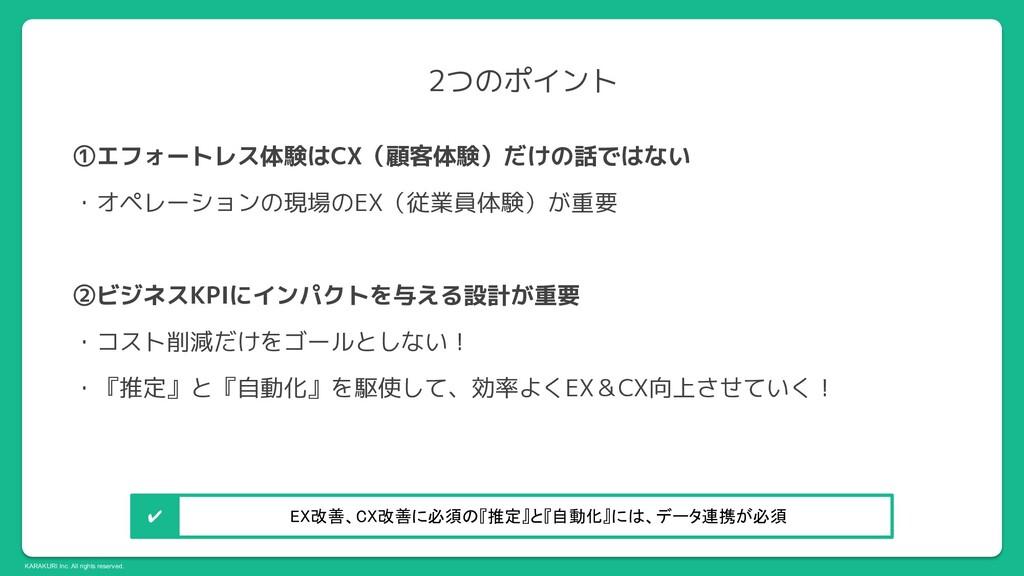 KARAKURI Inc. All rights reserved. 2つのポイント ①エフォ...