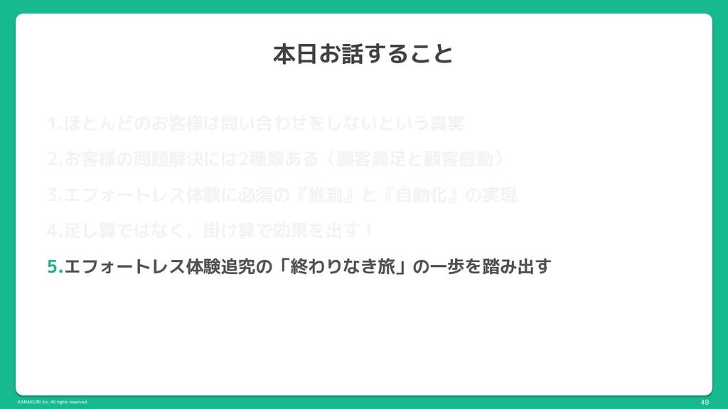 KARAKURI Inc. All rights reserved. 本日お話すること 49 ...