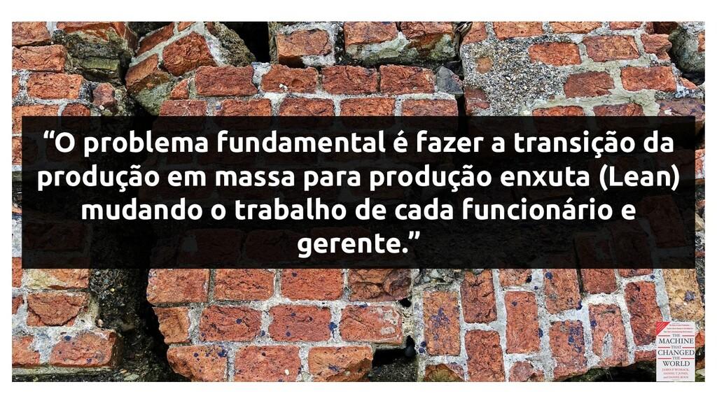 """""""O problema fundamental é fazer a transição da ..."""
