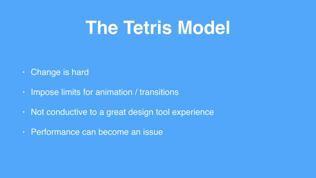 The Tetris Model • Change is hard • Impose limi...