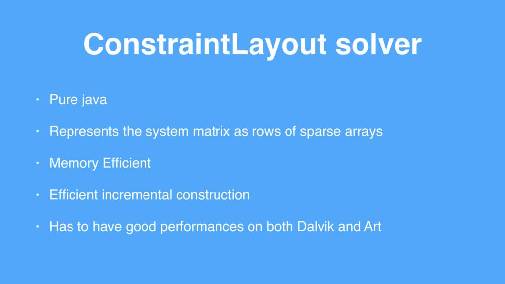 ConstraintLayout solver • Pure java • Represent...