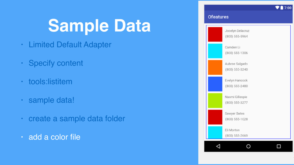 Sample Data • Limited Default Adapter • Specify...
