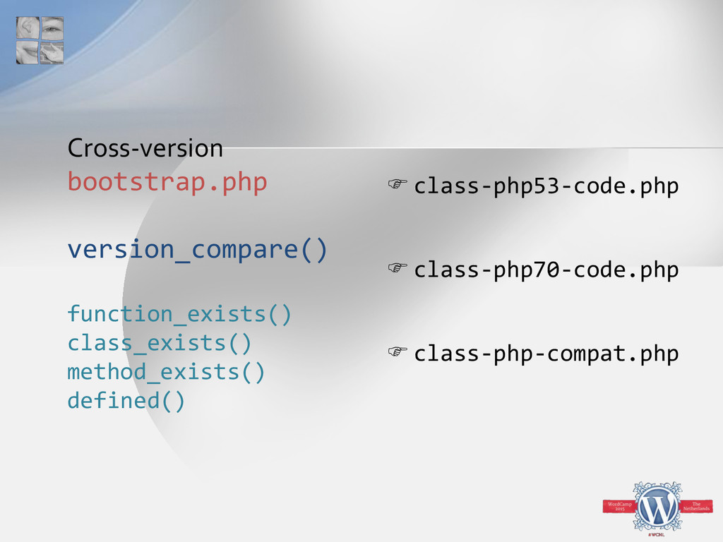 Cross-version bootstrap.php version_compare() f...