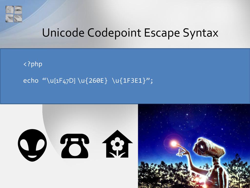 "Unicode Codepoint Escape Syntax <?php echo ""\u{..."
