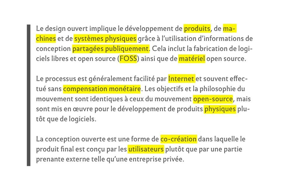 Le design ouvert implique le développement de p...