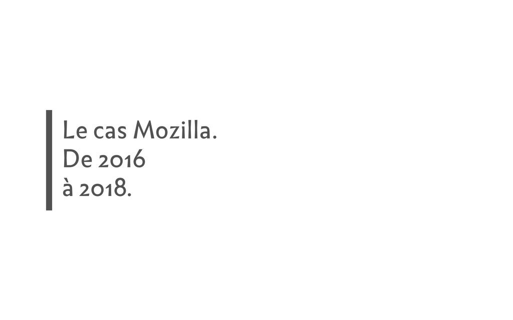 Le cas Mozilla. De 2016 à 2018.