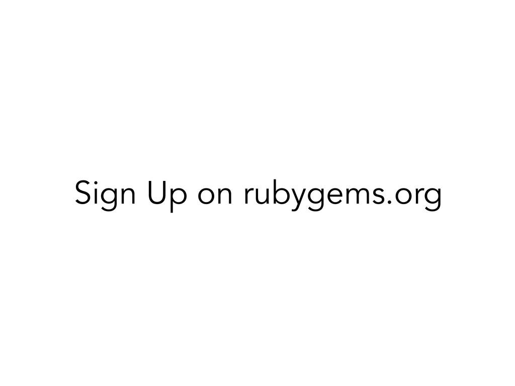 Sign Up on rubygems.org