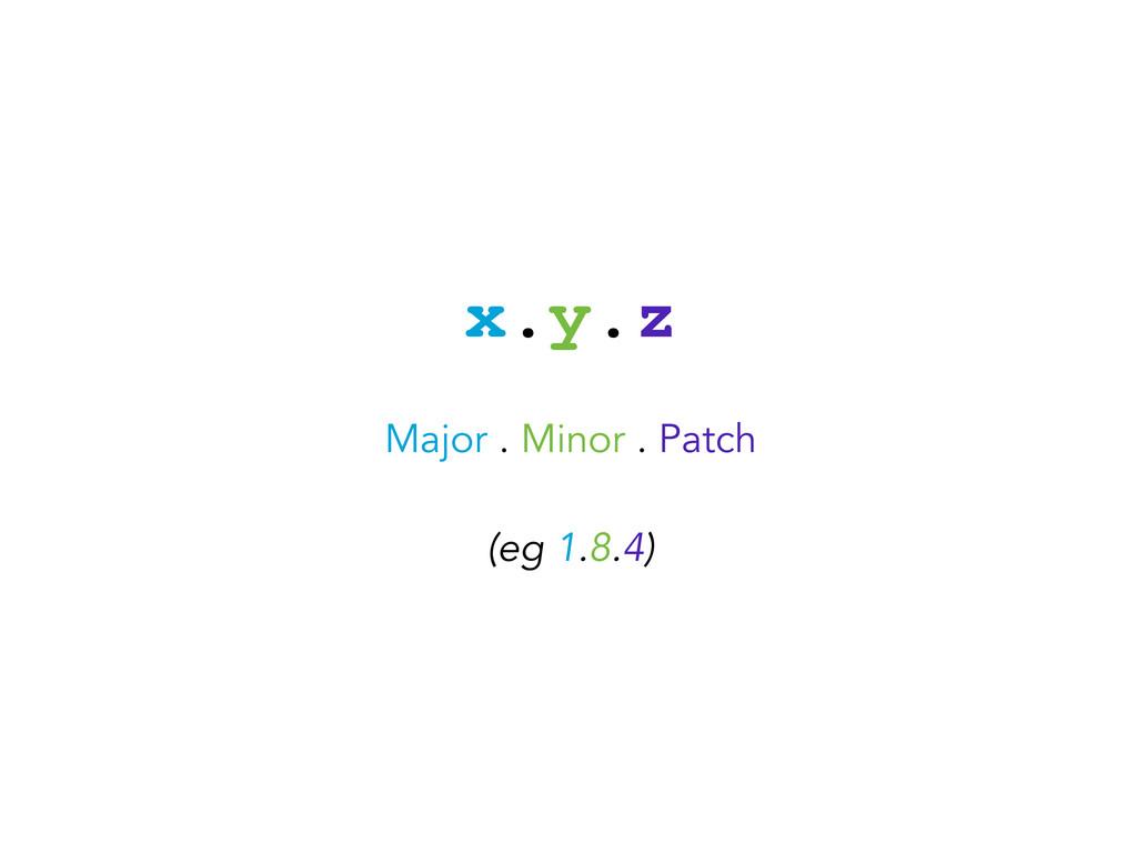 x.y.z Major . Minor . Patch (eg 1.8.4)