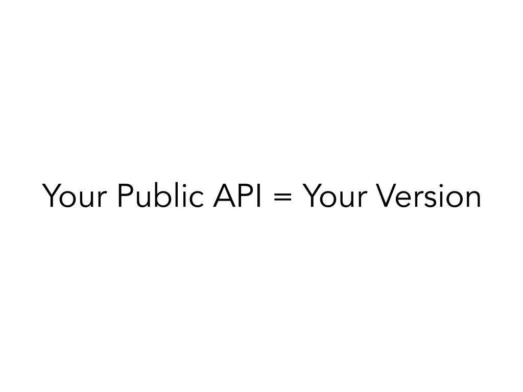 Your Public API = Your Version