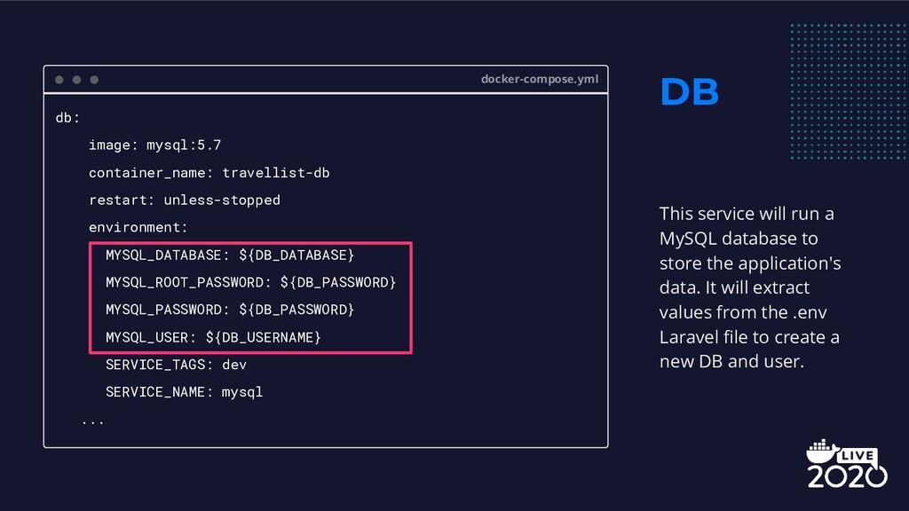 DB docker-compose.yml db: image: mysql:5.7 cont...