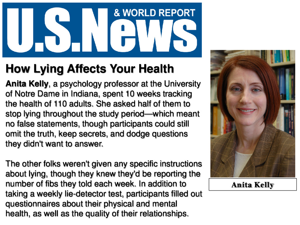 How Lying Affects Your Health Anita Kelly, a ps...