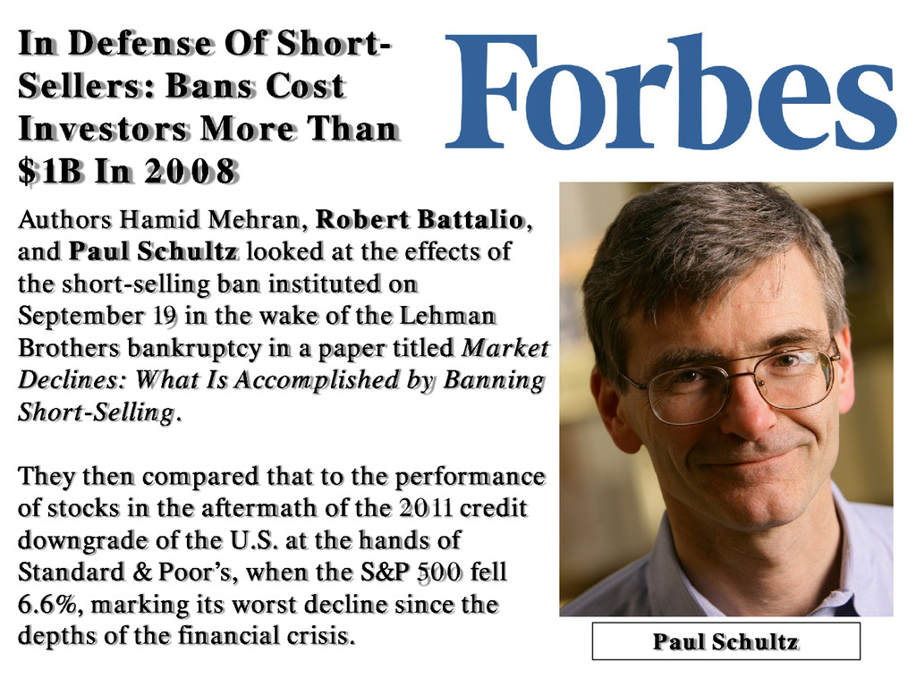 In Defense Of Short- Sellers: Bans Cost Investo...