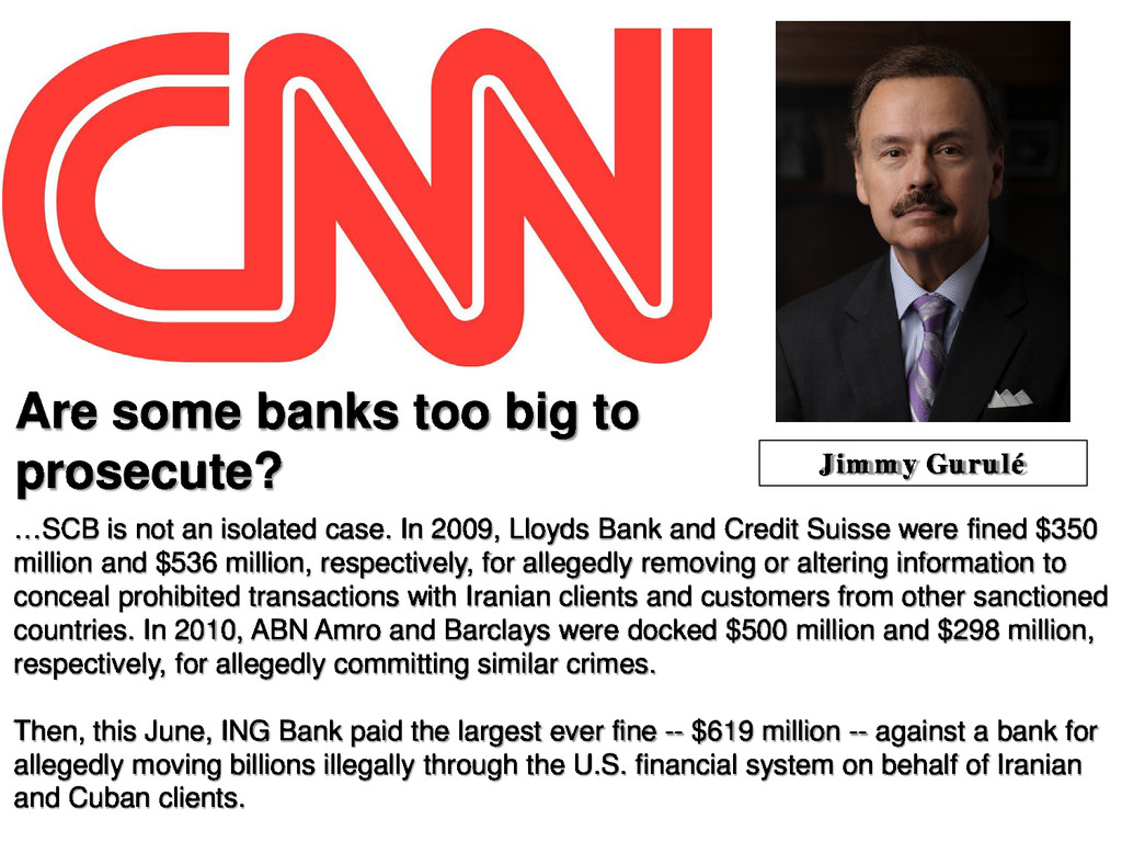 Are some banks too big to prosecute? …SCB is no...