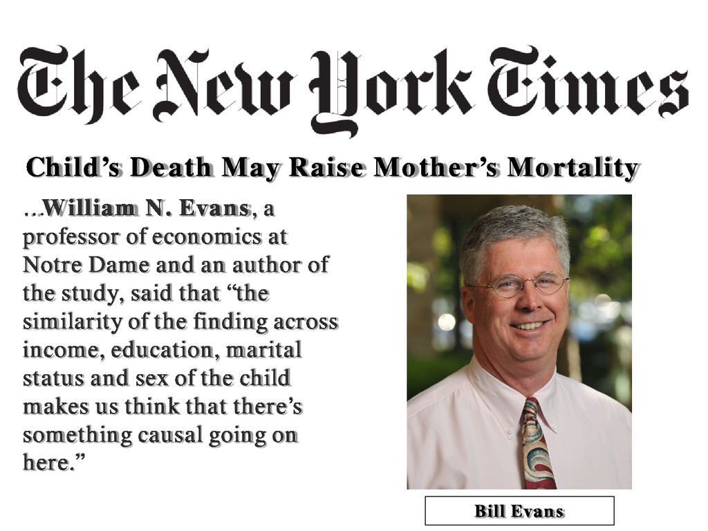 Child's Death May Raise Mother's Mortality …Wil...