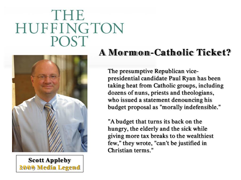 A Mormon-Catholic Ticket? Scott Appleby 2009 Me...