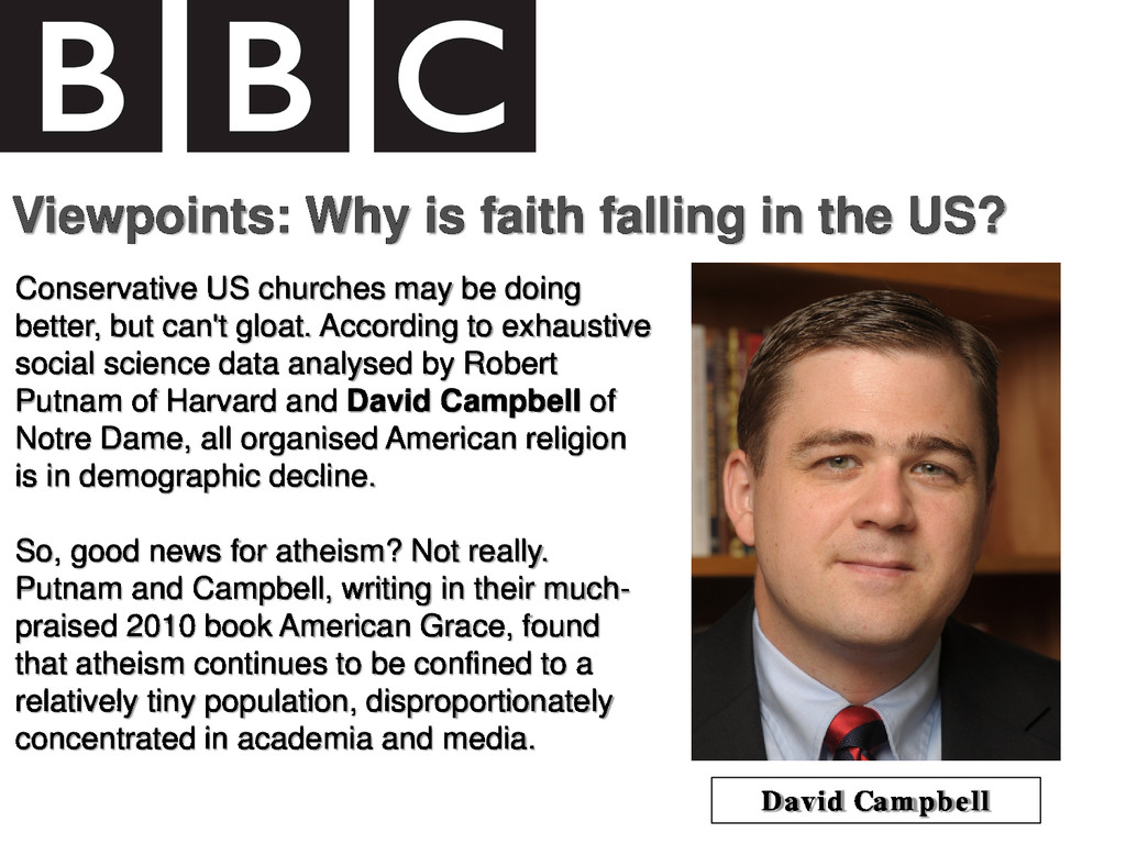Viewpoints: Why is faith falling in the US? Con...