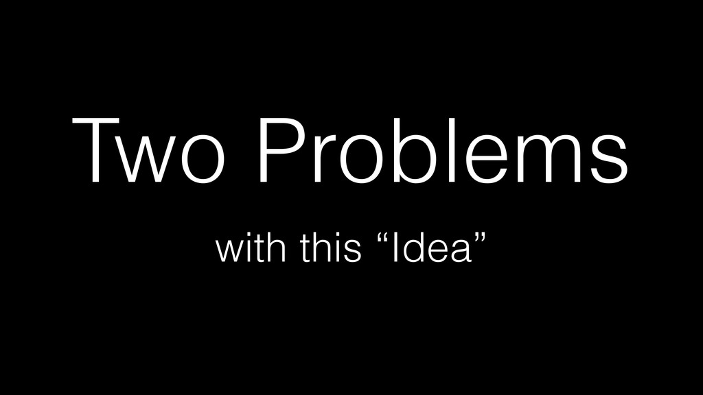 "Two Problems with this ""Idea"""