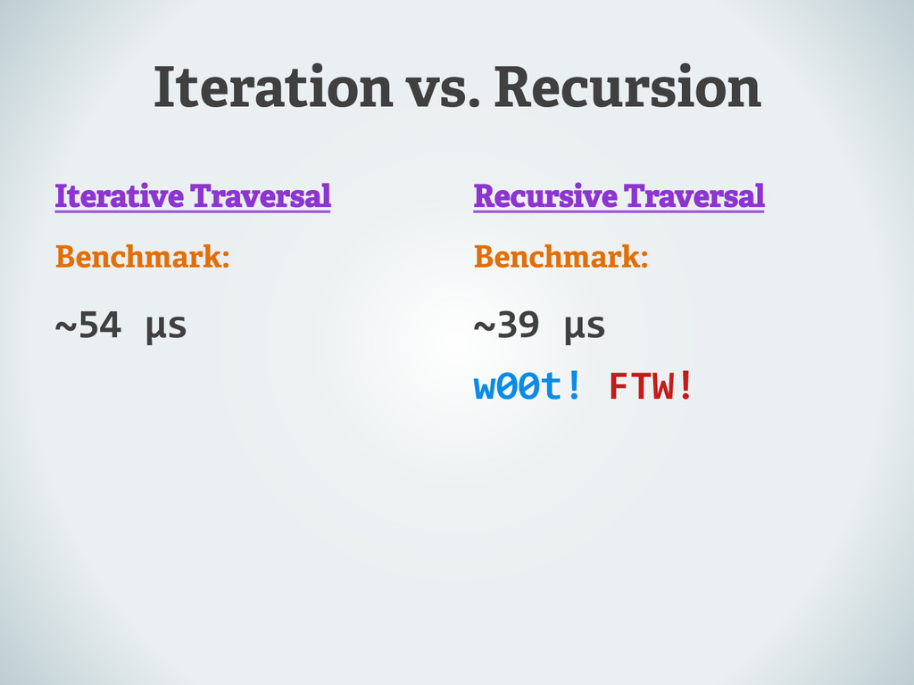 Iteration vs. Recursion Iterative Traversal Ben...