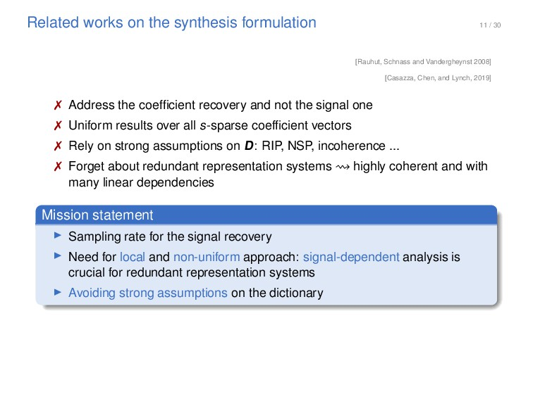 11 / 30 Related works on the synthesis formulat...