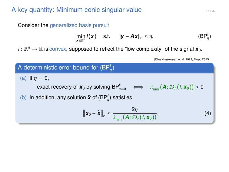 14 / 30 A key quantity: Minimum conic singular ...