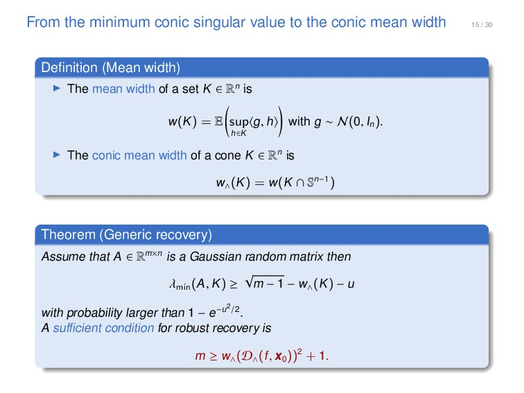15 / 30 From the minimum conic singular value t...