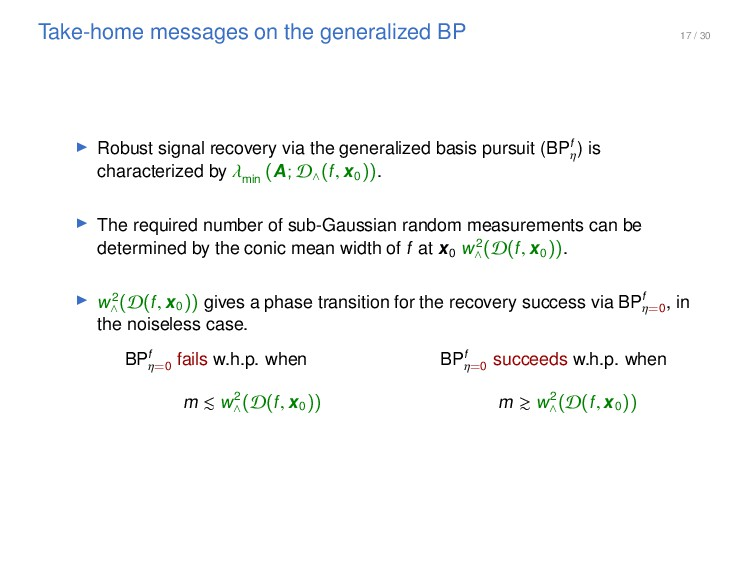 17 / 30 Take-home messages on the generalized B...