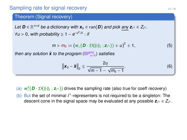 20 / 30 Sampling rate for signal recovery Theor...