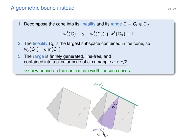 24 / 30 A geometric bound instead 1. Decompose ...