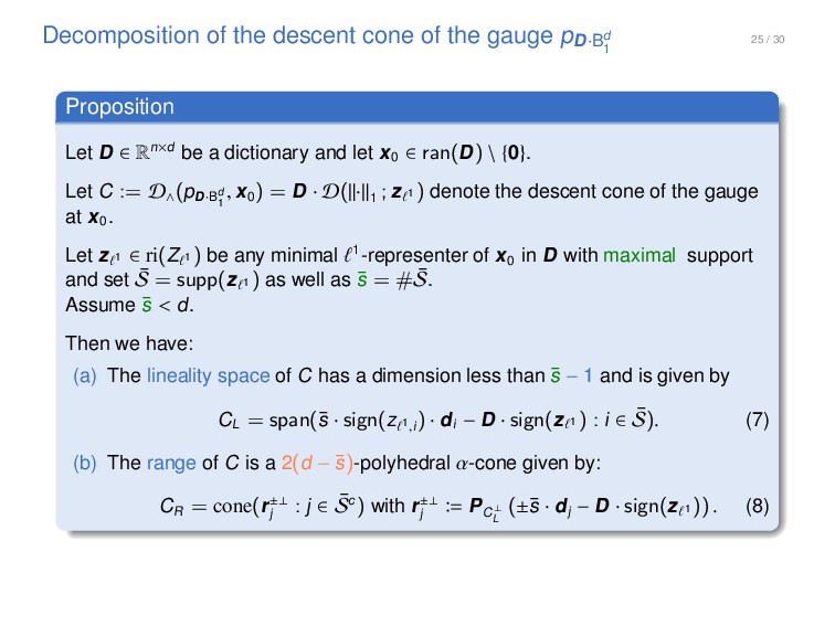 25 / 30 Decomposition of the descent cone of th...