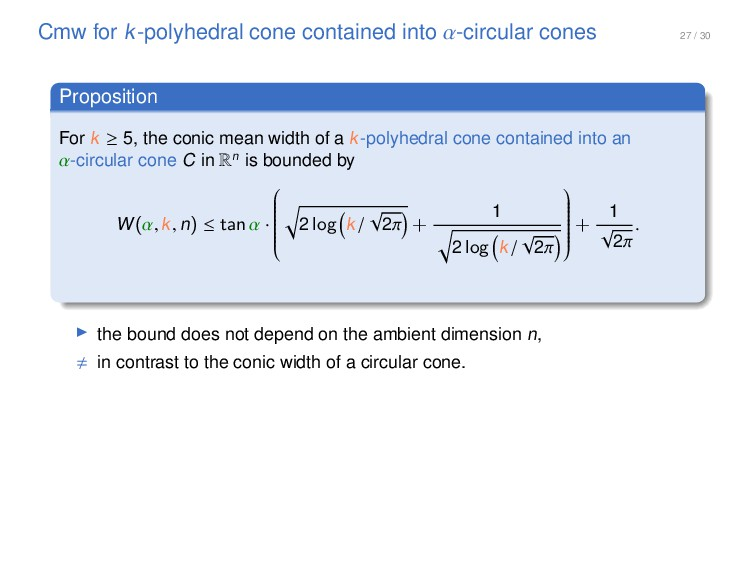 27 / 30 Cmw for k-polyhedral cone contained int...