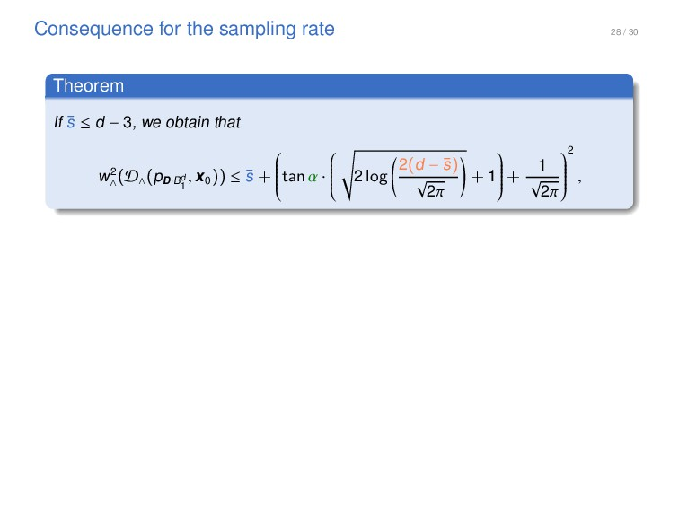 28 / 30 Consequence for the sampling rate Theor...