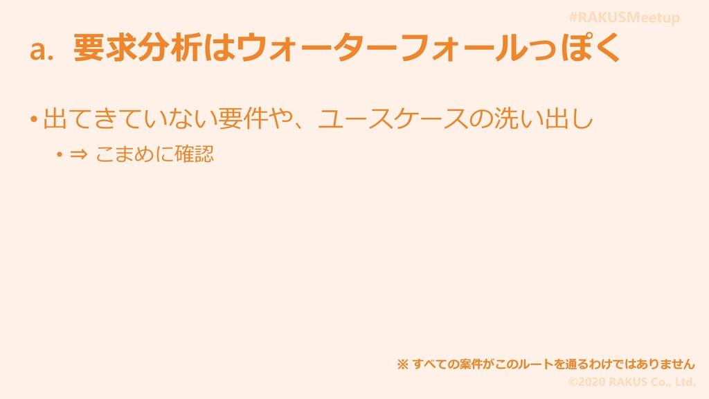 #RAKUSMeetup ©2020 RAKUS Co., Ltd. a. 要求分析はウォータ...