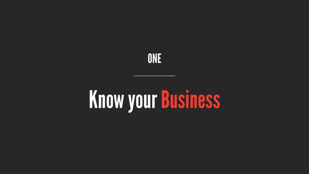 ONE Know your Business