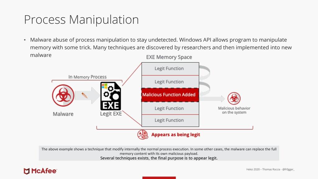 Process Manipulation ▪ Malware abuse of process...