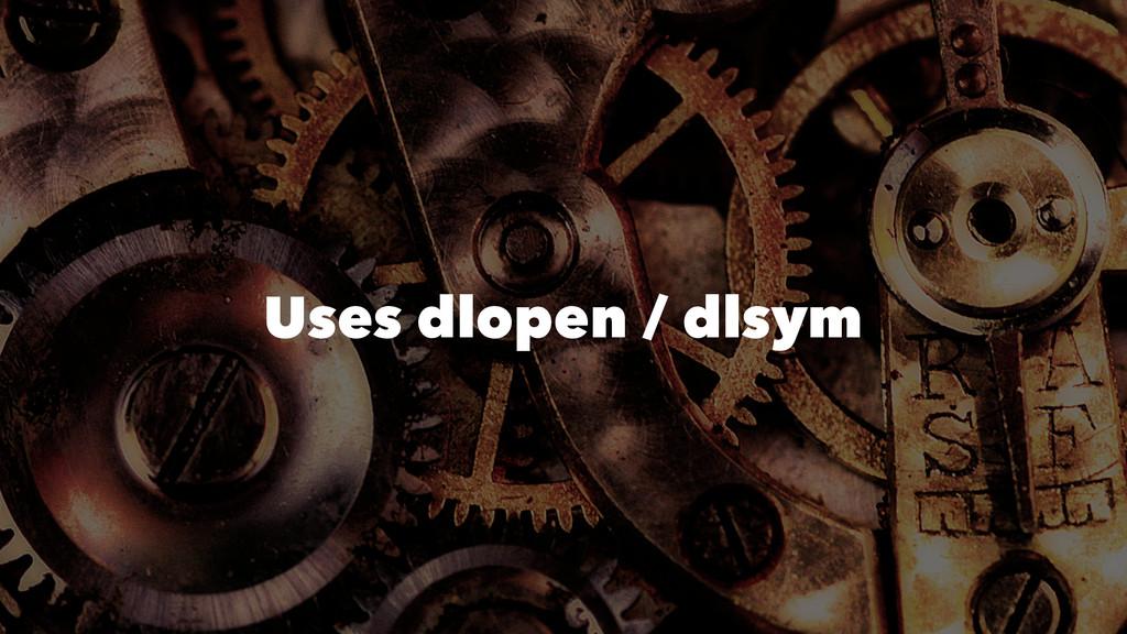 Uses dlopen / dlsym