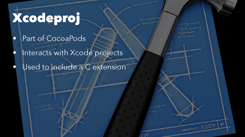Xcodeproj • Part of CocoaPods • Interacts with ...