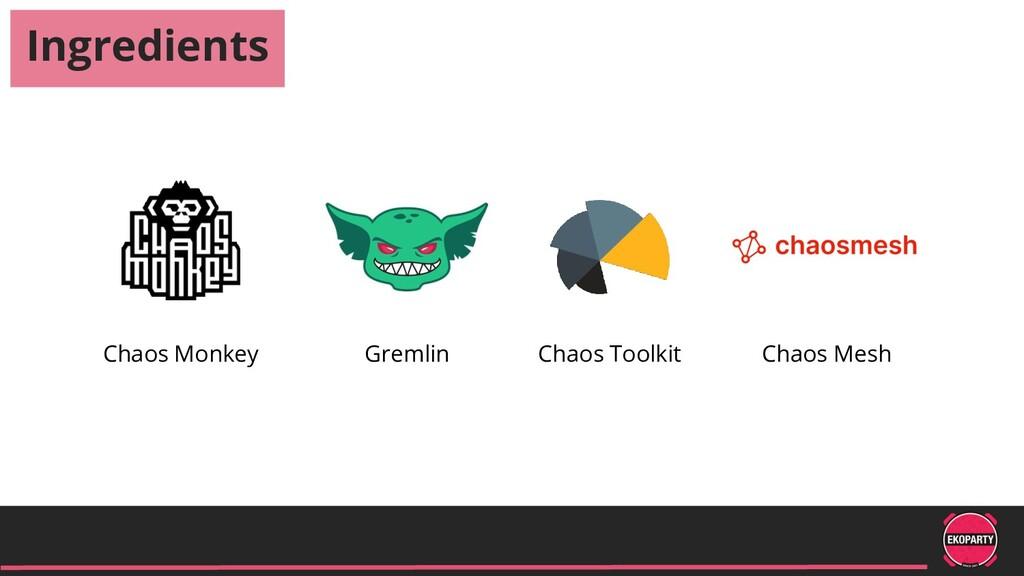 Ingredients Chaos Monkey Chaos Toolkit Gremlin ...