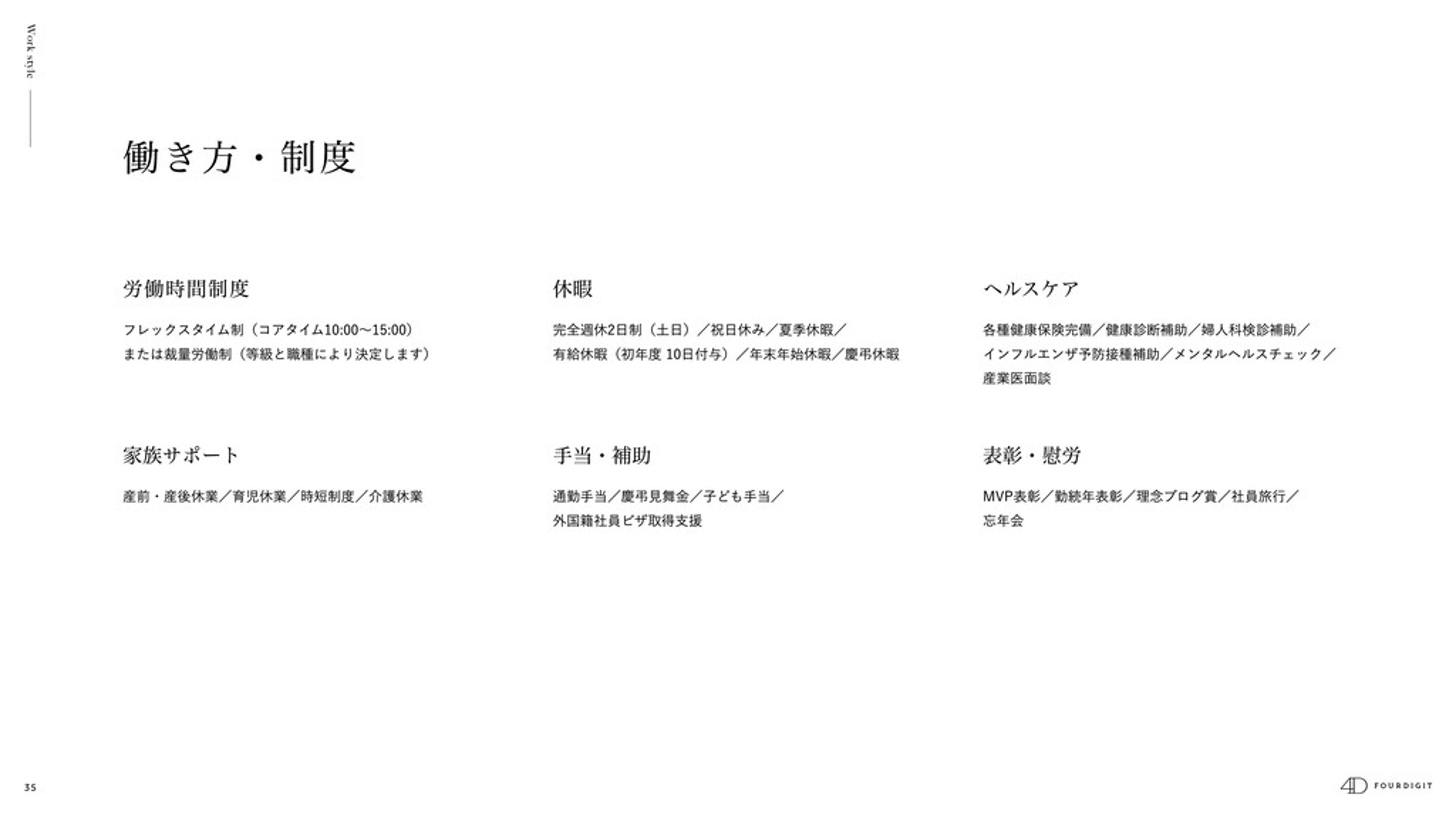 35 Work style 表彰・慰労 MVP表彰/勤続年表彰/理念ブログ賞/社員旅⾏/ 忘年...