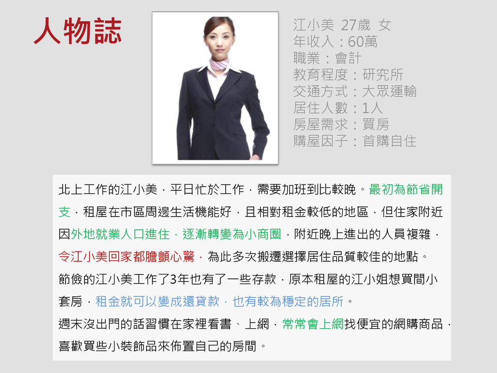 江小美 27歲 女 年收入:60萬 職業:會計 教育程度:研究所 交通方式:大眾運輸 居住人數...