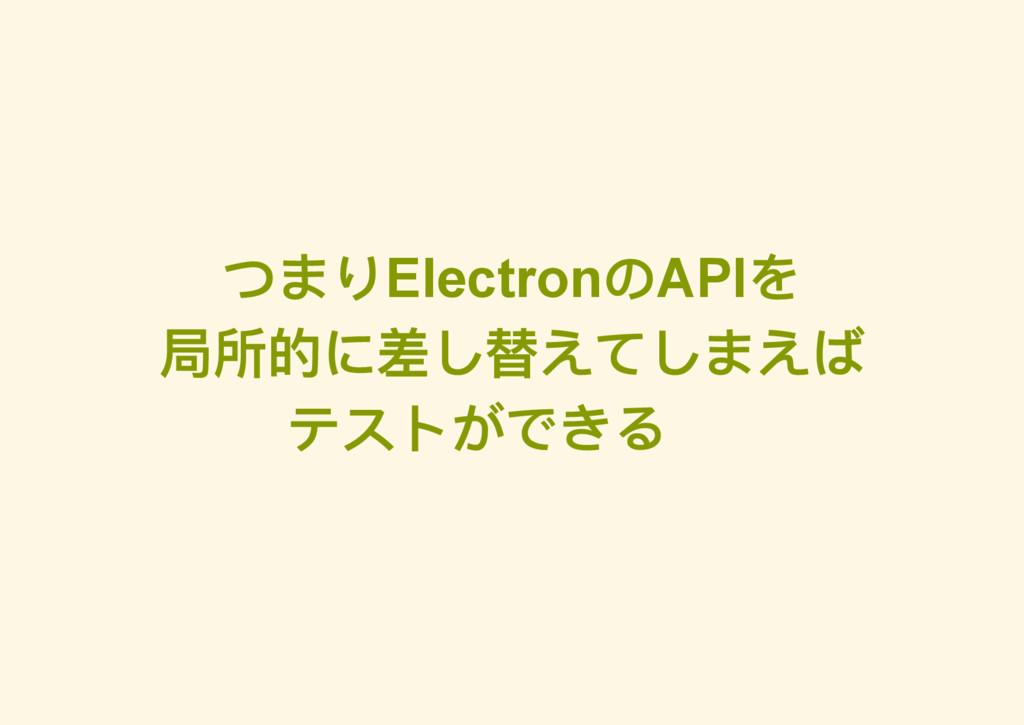 つまりElectron のAPI を 局所的に差し替えてしまえば テストができる